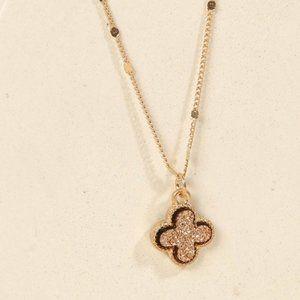 Jewelry - Clover Pendant Druzy Pendant Necklace - Rose Gold